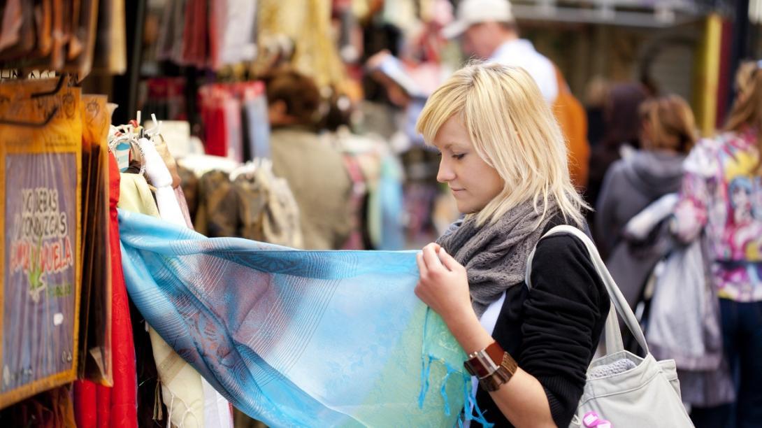 Traveller explores a local market in Cambodia.